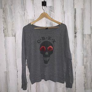✭ 3/$25 Obey rose skull long sleeve shirt